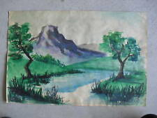 Vintage 1954 Ken Urion Watercolor Painting Mountain