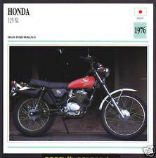 1976 Honda 125cc XL (122cc) Japan Bike Motorcycle Photo Spec Info Stat Card