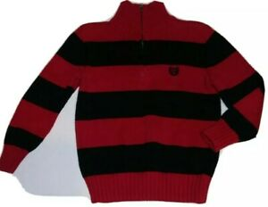 Boys Dressy Red Black Striped Sweater ¼ Zip Pullover by Chaps Size 4-4T