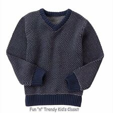 NWT Gymboree SWEATER WEATHER Boys Size Small 5-6 Navy Blue Two-Tone Knit Sweater