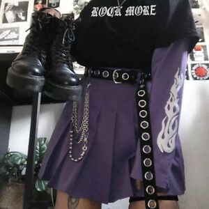 Purple Punk Slogan T-shirt Long Black Fire Print Sleeves Jumper Alt Gothic Uk