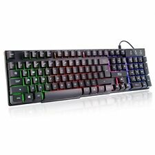 LED Light Up Large Gaming Keyboard Mechanical Like Wired USB RGB PC Windows OS