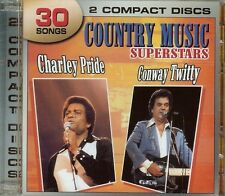 CHARLEY PRIDE / CONWAY TWITTY - COUNTRY MUSIC SUPERSTARS - 2 CDS - 30 SONGS