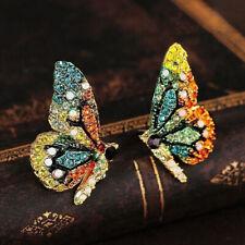 Multicolor Rhinestone Butterfly Ear Stud Earrings Women Party Jewelry Sweet