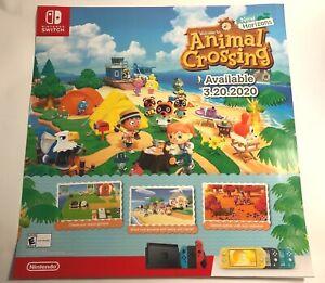 "Animal Crossing New Horizons Promo Display Poster 25"" x  24"" RARE"