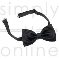 Mens Black Handmade Satin Polyester Pre Tied Wedding Party Necktie Tie Bow Ties