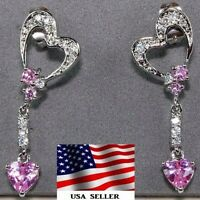 1CT Pink Sapphire & White Topaz 925 Solid Sterling Silver Earrings Jewelry W-23