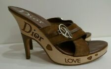 CHRISTIAN DIOR LOVE SHOES WEDGE HEELS 37 EU 7 US BROWN LEATHER MAKE AN OFFER!!!!