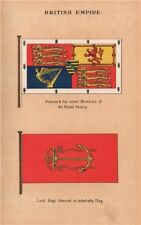 BRITISH EMPIRE FLAGS. Royal Family Members Standard. Admiralty flag 1916 print