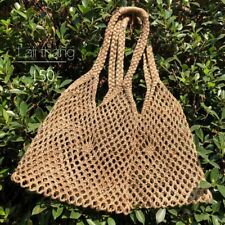 VINTAGE KNITTED SISAL TOTE SHOPPER SHOULDER BAG 100% THAI HANDCRAFT