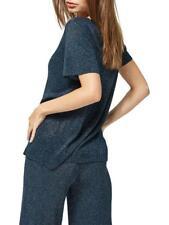 SELECTED FEMME Sada Metallic Knitted Top Blue Size XS  UK 6-8      (B37)
