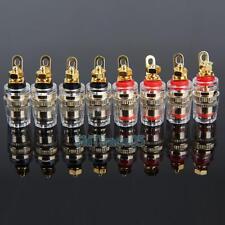 8pcs Soldered Speaker Cable Terminals Copper Gold Binding Post Banana Jack 32mm