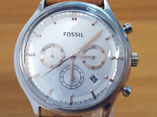 Mens Brown Leather Silver & Rose-Gold Fossil Heritage Chronograph Date Watch