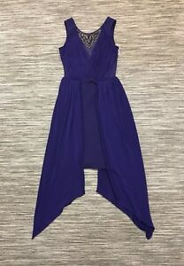 Lipsy Embellished Ruched Mesh Mini Dress With Overlay In Purple Size 8/10 RRP£60