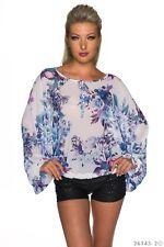 Sexy Damen Shirt Bluse Sweatshirt langarm Blumen Muster Weiß Mehrfarbi 34 36 38
