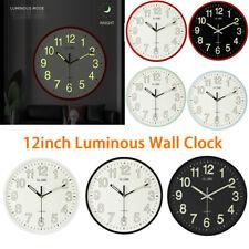 12'' Modern Large Circular Luminous Quartz Wall Clock Non-ticking KEEP SILENT