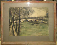 Frank Di Gioia 1958 Exhibited Modernist View of Paris WC Listed New York Artist