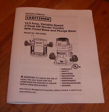 SEARS CRAFTSMAN ROUTER VARIABLE SPEED ROUTER COMBO OWNERS MANUAL 320.27683 27683