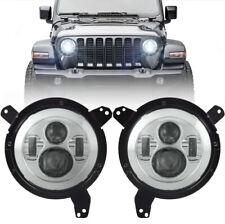 "Eagle Lights Chrome 9"" Round LED Projection Headlight Kit for Jeep Wrangler JL"