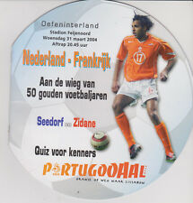 Programme / Programma Holland v France 31-03-2004 friendly