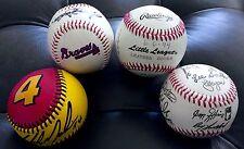 AMAZING SET OF (4) AUTOGRAPHED BASEBALLS MLB DAYTONA BRAVES LITTLE LEAGUE
