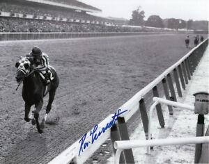 "Secretariat 1973 Belmont Stakes ""Look Back"" Photo 8"" x 10"" Signed Ron Turcotte"