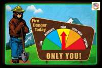 FIRE DANGER WARNING SIGN GAUGE ADJUSTS! SMOKEY BEAR U.S. FOREST SERVICE VINTAGE