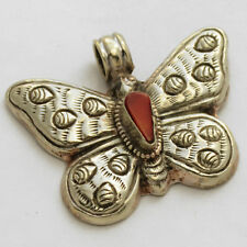 Butterfly Coral Pendant Silver Tone Tibetan Nepalese Ethnic Tribal Nepal UP953