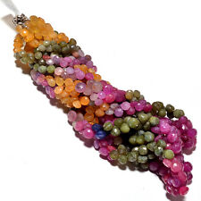 """BEST QUALITY 18"""" NATURAL FACETED MULTI SAPHIRE ONION SHAPE 8-10MM GEMSTONE BEADS"""