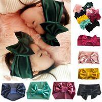 Newborn Girl Kids Baby Velvet Big Bow Tie Head Wrap Turban Top Knot Headband