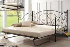 New Milano Metal Day Bed With Trundle Black Sprung Slats Base Cheapest On eBay!!