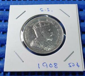 1908 Straits Settlements 50 Cents King Edward VII Half Dollar Silver Coin