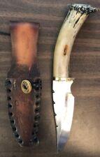"Ben Barto HANDMADE Elk 11"" Antler Knife - 440 Stainless Steel w/ crafted sheath"