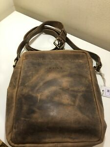 RUST Ladies/Mens Brown Real Leather Messenger/Shoulder Bag W/Strap New W/Tags