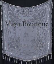 Gray Piano Shawl Scarf Wrap All Beaded Silk Burnout Velvet Maya Matazaro