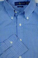 Polo Ralph Lauren Men's Cadet Blue White Check Cotton Casual Shirt L Large