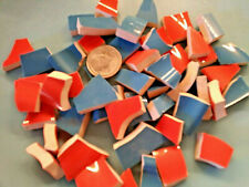 """ Chunks Of Gator Colors "" Broken China Plate Mosaic Tiles Orange & Blue Shards"
