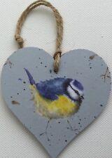 """""""Blue Tit"""" handcrafted decoupage door dresser hanger heart Wrendale paper Bird"""