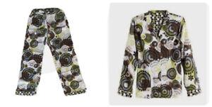 3 Pc Set VERA BRADLEY Cocoa Moss Small Women Pajamas Top Shirt Pants PJ's Cotton