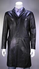 * ARMANI COLLEZIONI * Black Lambskin Leather 3/4 Length Overcoat Coat 44/XL