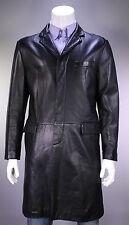 * ARMANI COLLEZIONI * Black Lambskin Leather 3/4 Length Overcoat Coat 44/XL