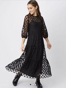 George Bnwt Black Mesh Polka Dot 2 In 1 Tiered Midi Dress Size 14