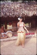 Beautiful Hawaiian Grass Skirt Hula Girl Drum Man Hawaii Oahu 1970 Slide Photo