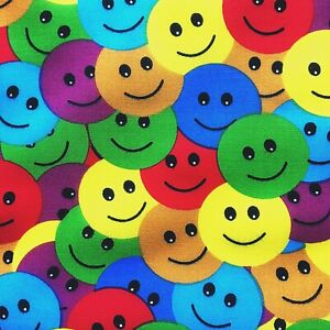 NEW! Emoji  PolyCotton Crafts FABRIC Rainbow Smiley Faces Material