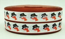 Snowman red grosgrain 7/8 ribbon 3 yds hair bows  **CHELLE**