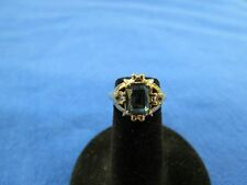 Vintage 10K Yellow Gold Blue Spinel and White Topaz ring size 3