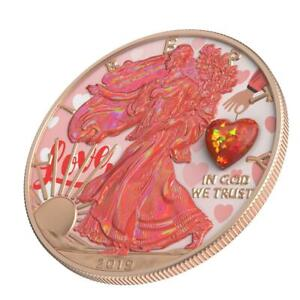 USA 2019 $1 Silver Eagle Opal HEART Amulet 1 Oz Silver Coin 500 pcs only