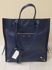 Balenciaga Blue Supple Grained Calfskin Papier A5 Side Zip Tote fr Barneys NY