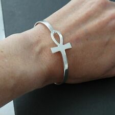 Sideways Ankh Bangle Bracelet - 925 Sterling Silver Egyptian Breath of Life NEW