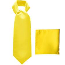 New polyester solid men's full ASCOT cravat necktie set wedding Prom Yellow
